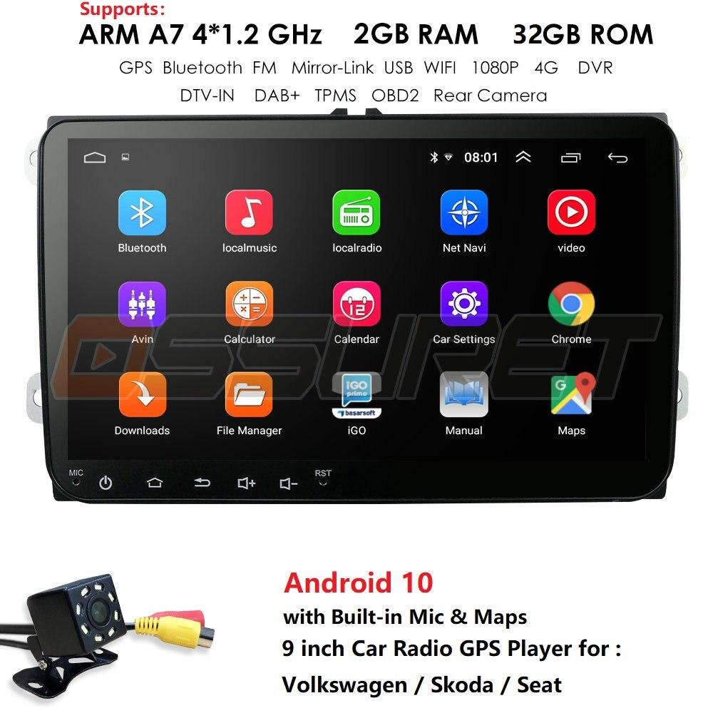 Radio multimedia con GPS para coche, radio con navegador, Android 9,0, 9 pulgadas, para Volkswagen, Skoda, Octavia, golf 5, 6, touran, passat B6, polo, tiguan, yeti, rapid