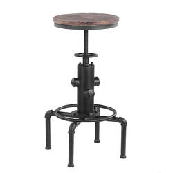 IKayaa промышленный барный стул, металлический барный стул, регулируемый по высоте, вертлюжный стул из соснового дерева, кухонный обеденный