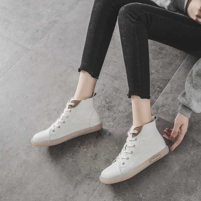 Vrouwen Enkellaars Zwart Lederen Platte Hakken Schoenen Herfst Toevallige Witte Laarzen Vrouwen Handgemaakte Lederen Zachte Bodem Sneak Boot