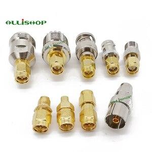 9 типов SMA наборы адаптеров SMA папа BNC/N/F/MCX/SMB/UHF/TV женский RF адаптер прямой никелированный позолоченный тестовый конвертер