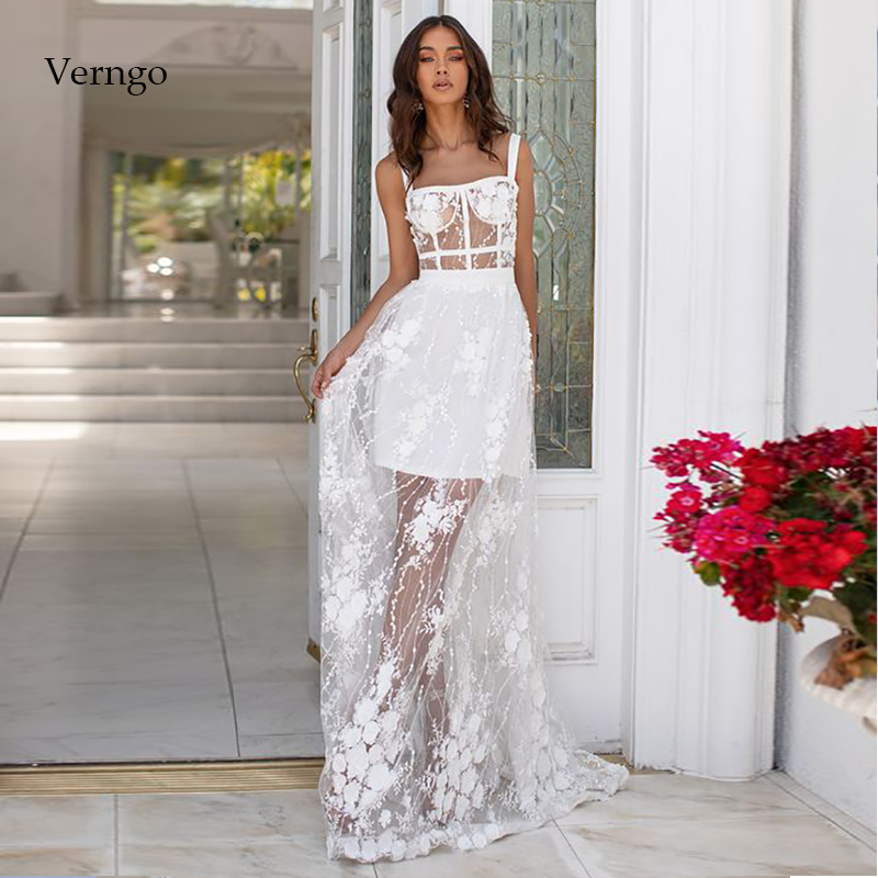Verngo A Line Lace Evening Dress Ivory Elegant Formal Dress Long Simple Prom Party Gowns Abiye Gece Elbisesi