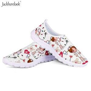 Image 2 - Jackherelook Cartoon Nurse Printing Women Flats Shoes Girls Nursing Shoe Work Walking Sneakers Female Air Mesh Shoes Light Weigt