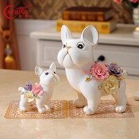 Porcelain Dog Figurines Decoration Home Handmade Ceramic Animal Statue For Dog Lover Table Decor Cute Birthday Housewarming Gift