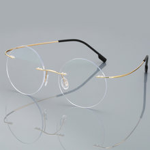 Anti-blue Ray gafas de lectura sin montura hombres mujeres ronda de aleación de titanio marco receta la presbicia gafas + 1,50 + 2,00 + 2,50