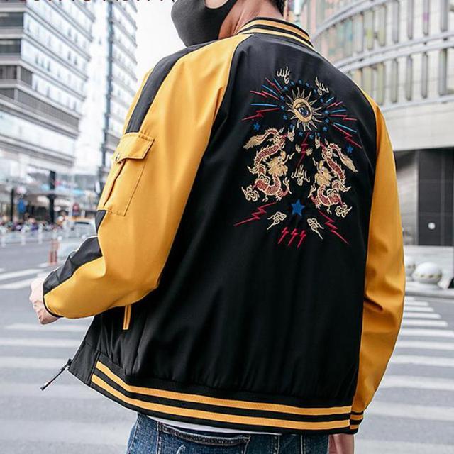 2019 Chinese Style Men Jacket Coat Dragon Embroidery Streetwear Men Jacket Coat Hip Hop Mens Bomber Autumn Jackets
