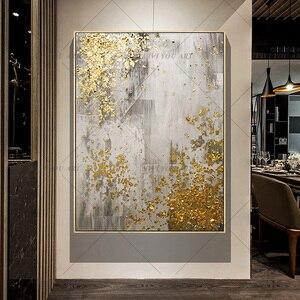 Image 4 - 2019 新 100% ハンド塗装抽象アートウォールピクチャー手作りゴールデンツリーキャンバス用ホーム装飾