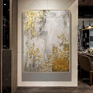 Image 4 - 2019 neue 100% Hand Bemalt Abstrakten Gold Kunst Wand Bild Handgemachte Goldene Baum Leinwand Ölgemälde Für Wohnzimmer Hause decor