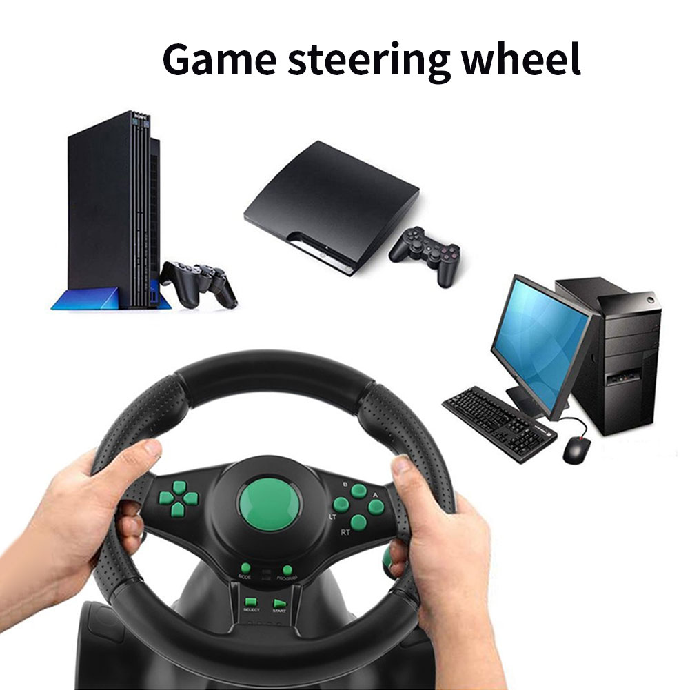 Racing Game Pad 180 Degree Steering Wheel Vibration Joysticks With Foldable Pedal For PS2 PS3 Xbox 360 PC USB One All-in-one image
