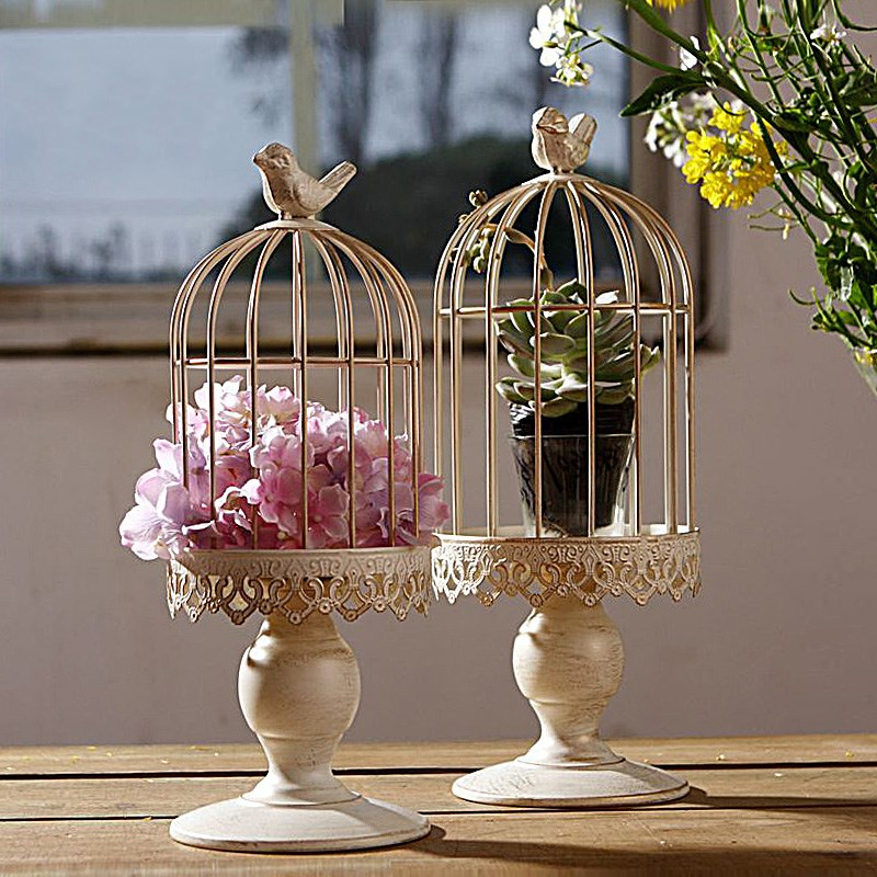 European Wrought Iron Creative White Retro Birdcage Decoration Hanging Flowerpot Succulent Plants