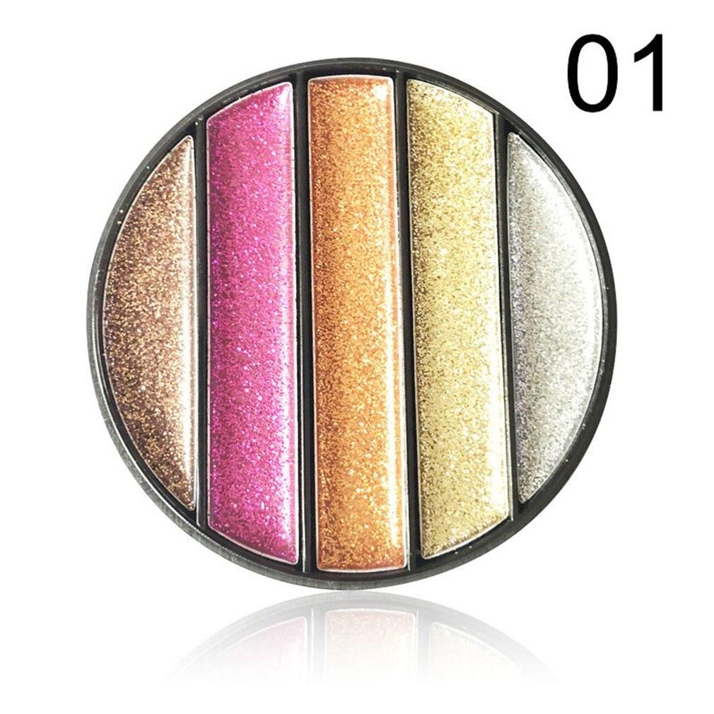 5-цветные Алмазные Блестки для теней для век, стойкие, без макияжа, водонепроницаемые, не цветущие тени для век, продукты для макияжа