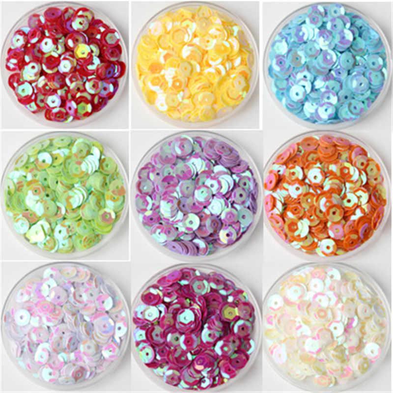 Multi Ukuran Campuran Warna 4 Mm 5 Mm 6 Mm Payet PVC Bulat Piala Payet Paillettes Jahit Pernikahan Kerajinan Wanita pakaian Aksesoris 10G