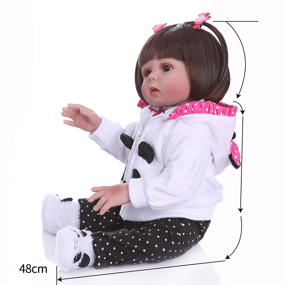 Npk Original 48Cm Baby Doll Reborn Toddler Doll Straight Hair Girl Panda Dress Full Body Soft
