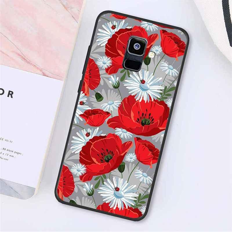 Yinuoda الأحمر فراشة على الأبيض الورود زهرة الهاتف حقيبة لهاتف سامسونج غالاكسي A7 A50 A70 A40 A20 A30 A8 A6 A8 زائد A9 2018