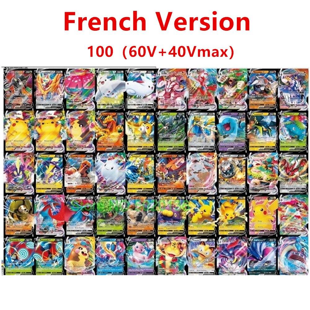 100-300 шт. французская версия карт Pokemon V GX MEGA TAG команда EX Боевая карта карты Pokemon Vmax французский для детей