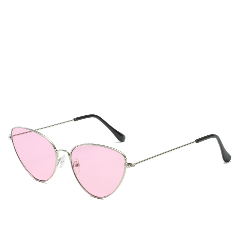 Pink Color Metal Frame Tringle Shape Clear Lens Cat Eye Sexy Vintage Retro Sunglasses For Women Glasses Eyewear