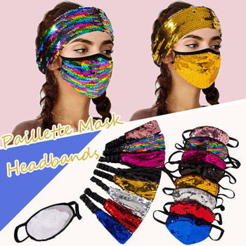 Reusable Protective Mask Adult Paillette Safet Protect Washable Mask+headbands Outfits Set High Quality Mascarillas Fastdelivery image