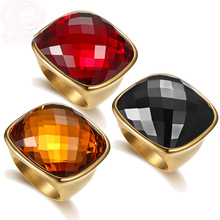 New Big Color Crystal Jewelry Finger Rings Gold Color Titanium Steel Rings Casting Ring For Man And Women Free Shipping