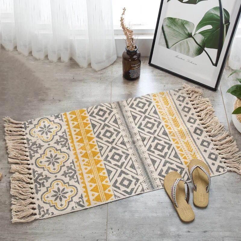 Tapis rétro bohème en coton et lin tissé à la main, 60x90CM, tapis de chevet à franges, tapis de sol géométrique, pour salon, chambres à coucher, décoration de maison 2