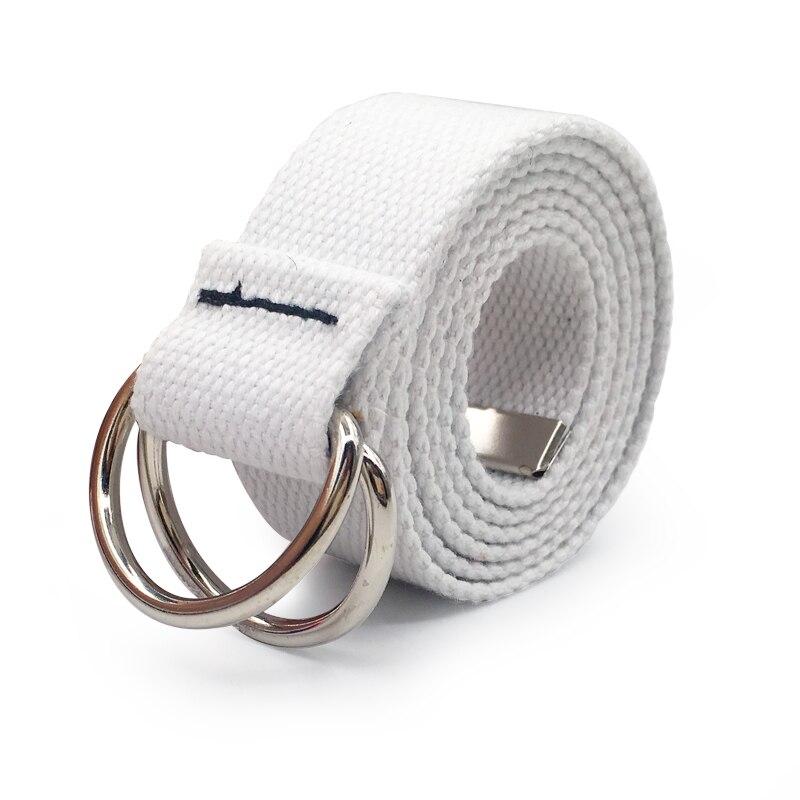 130 см модный нейтральный нейлоновый холщовый ремень с d-образным кольцом и двойной пряжкой, студенческий ремень, Холщовый пояс с двойной пряжкой - Цвет: Style 2 White