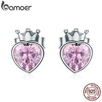 BAMOER authentique 925 en argent Sterling doux rose coeur de couronne boucles d'oreilles pour les femmes de luxe en argent Bijoux cadeau de Bijoux SCE174