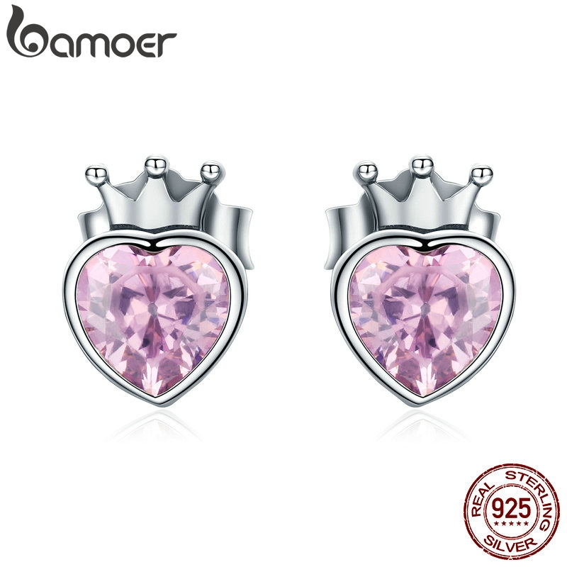 BAMOER Authentic 925 Sterling Silver Sweet Pink Heart Of Crown Stud Earrings For Women Luxury Silver Jewelry Bijoux Gift SCE174