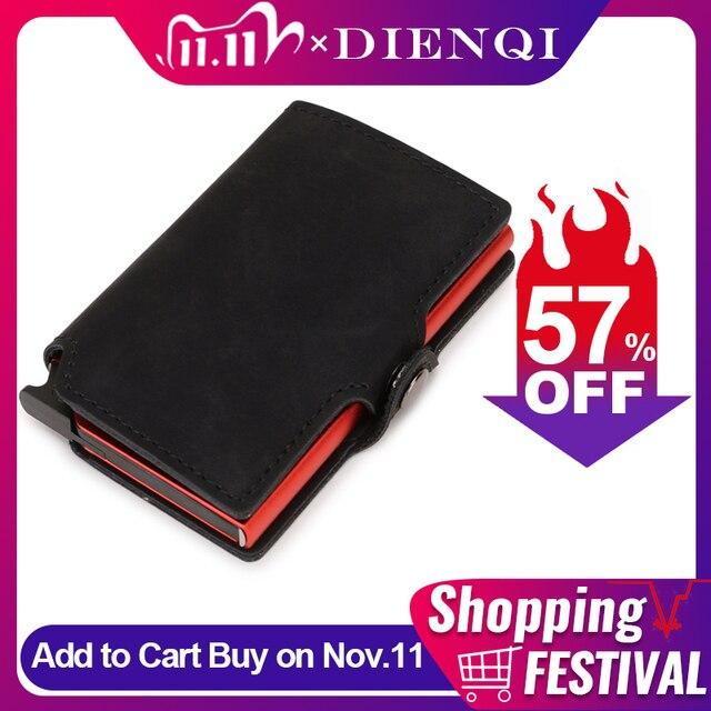 DIENQI Thin Wallet Luxury Leather Security Men Women Card Holder Wallet Ridge wallets Mini Purse Red Magic Wallet 2021 Walet 1