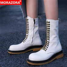 MORAZORA Size 34-41 Nature genuine leather boots women zip autumn platform western ankle boots for women fashon ladies botas(China)