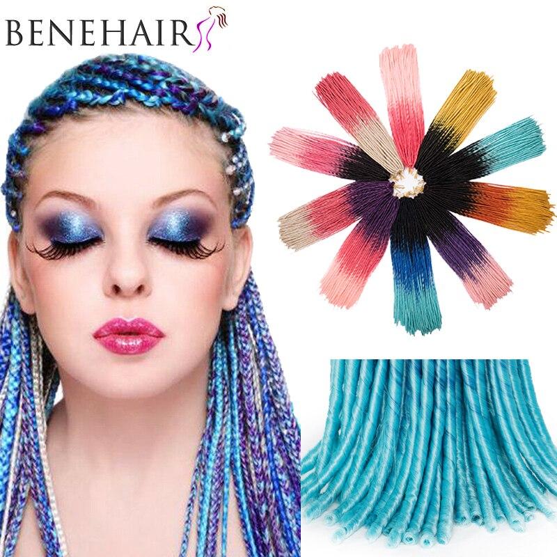 BENEHAIR Ombre Crochet Braid Hair Faux Locs Synthetic Crochet Hair Extensions Goddess Braiding Hair Fake Hair For Black Women