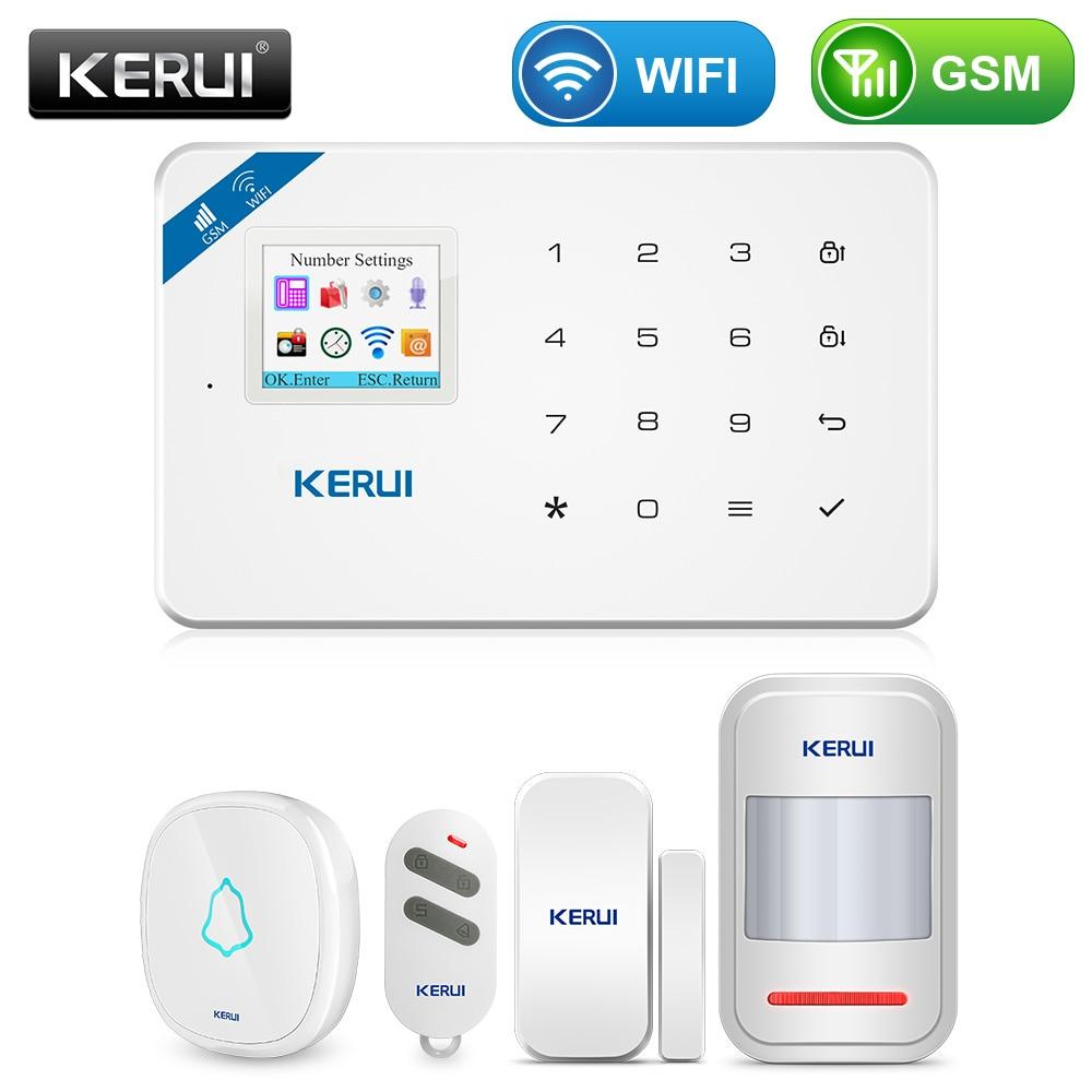 KERUI W18 WIFI GSM Sicherheit Alarm System Auto Dial 6 Bezeichnet Telefon App Control Anpassen Motion Detektor Sensor Einbrecher Alarm