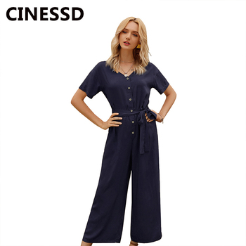 CINESSD Women Single Breasted Long Jumpsuits V Neck Short Sleeves Solid High Waist Casual Loose Lace Up Rompers Plain Jumpsuit grey lace up design printed v neck long sleeves sweatshirts