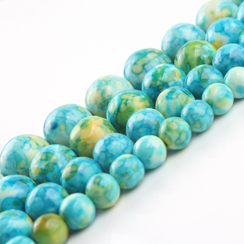 4mm-12mm Natural Stone Blue Yellow Spotted Rain Flower Stone Jasper Round Beads For Jewelry Making DIY Necklace Bracelet 15 Inch