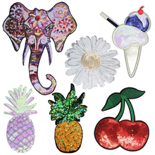 Flower Elephant Sequins Embroidered Cherry Pineapple Fruits Stickers Patch Patches Clothing Accessories T-shirt Decor