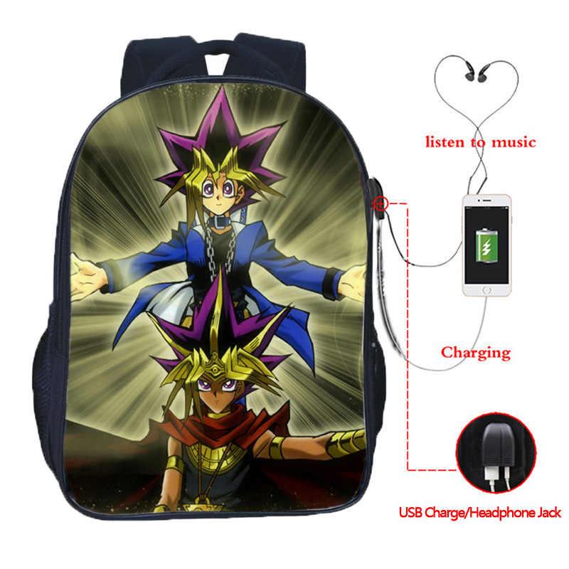 ¡Yu-Gi-Oh! Mochila multifunción Yugi Kaiba, mochilas escolares para adolescentes, bolsos de hombro de viaje con carga USB