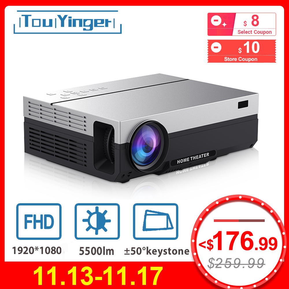 Touyinger T26K LED Native 1080p Projector Full HD Beamer Video 5500 Lumen T26L Home Cinema HDMI ( Android 9.0 Wifi AC3 Optional)