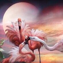 """Полный 5D Diy Daimond картина """"Семья фламинго"""" 3D вышивка крестиком квадрат/круглые стразы полная приклеенная Алмазная картина вышивка"""