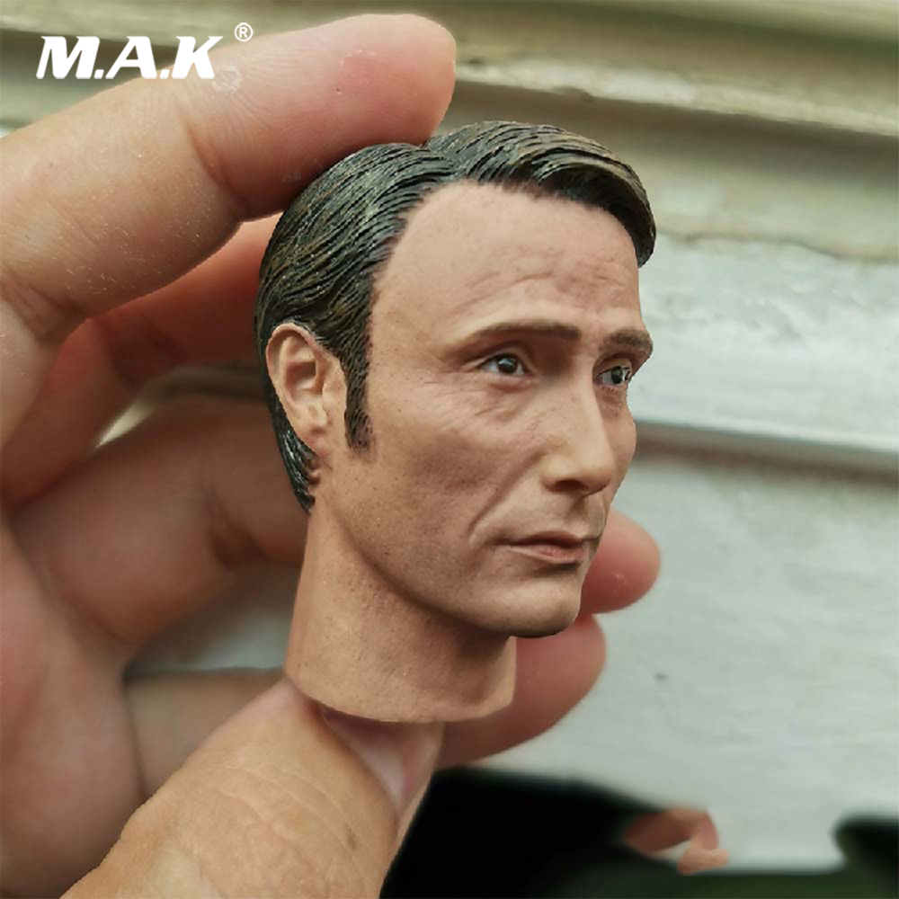 In Stock <font><b>1</b></font>/<font><b>6</b></font> <font><b>Scale</b></font> Male Head Sculpt Hannibal 2.0 Mads Mikkelsen Head Carved <font><b>Accessory</b></font> Model for 12 inches Body image