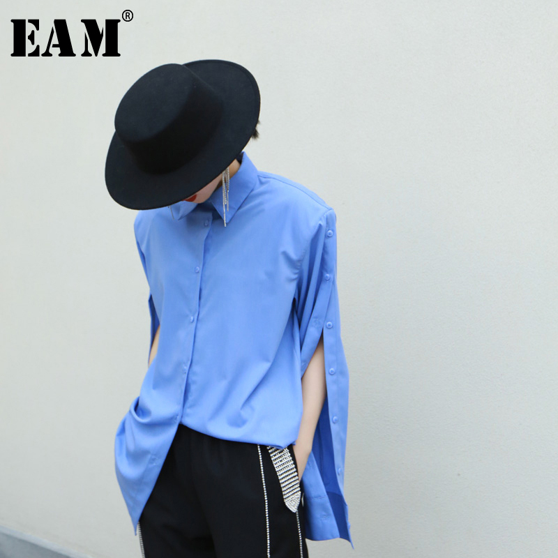 [EAM] Women Blue Vent Split Temperament Blouse New Lapel Long Sleeve Loose Fit Shirt Fashion Tide Spring Autumn 2020 1R352