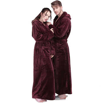 New Men Winter Extra Long Hooded Thick Flannel Warm Bath Robe Male Dressing Gown Thermal Bathrobe Women Mens Luxury Kimono Robes