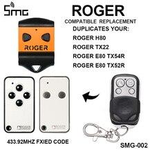 ROGER Control remoto de puerta de garaje H80 TX22, mando a distancia de 433,92 Mhz para puerta de garaje, ROGER TX54R TX52R