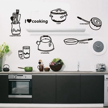 lovely cute Tableware Kitchenware pattern  I love cooking wall stickers kitchen decoration decals