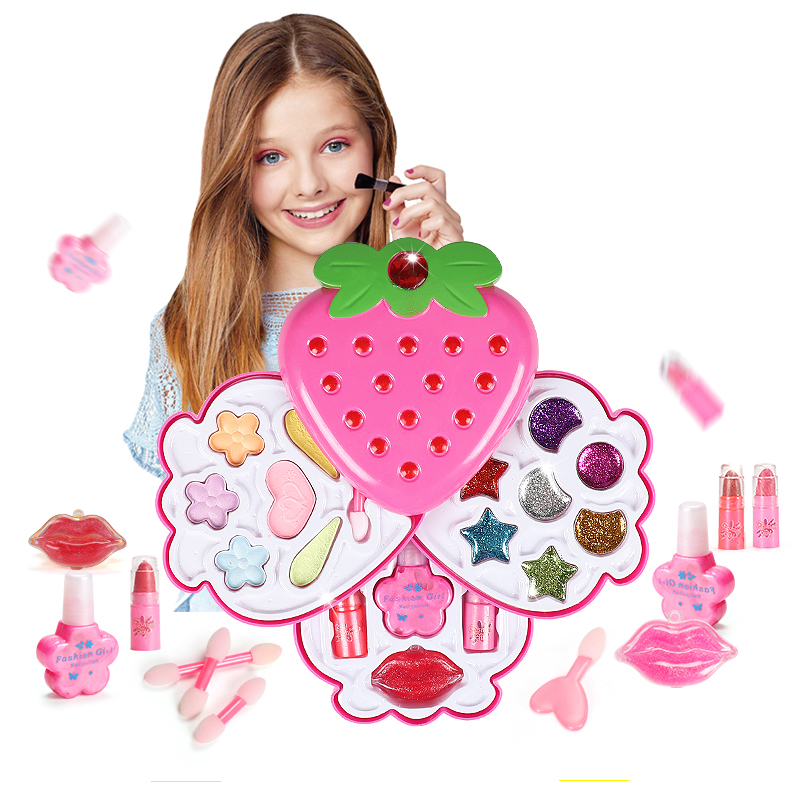 New Fashion Girl Make Up Kit Children Pretend Play Toys Princesses Makeup Set Safe Non-Toxic Girls Dressing Cosmetic Nail Polish