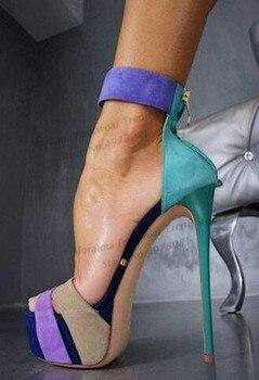 Moraima Snc Peep Toe Platform High Heel Sandal for Woman Summer Mixed Colors Suede Thin Heels Dress Shoes Ankle Strap Sandal