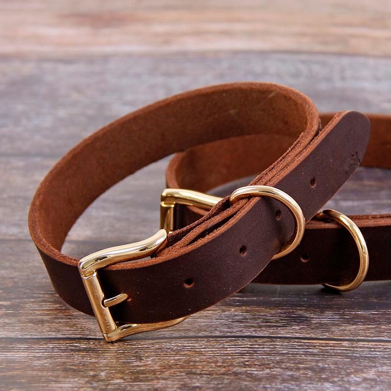 Pet Supplies Natural Leather Neck Ring Nursing Dog Cowhide Dog Supplies First Layer Cow Leather Collar