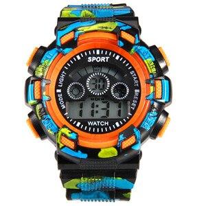 Multifunctionele Studenten Beweging Waterdicht Kinderen Kijken Kinderen Camouflage De Led Elektronische Outdoor Kids Horloges