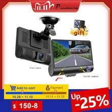 AMPrime cámara de vídeo DVR FHD para coche, tres vías, 4 pulgadas, cámara de salpicadero gran angular, Sensor G y videocámara de visión nocturna, 170