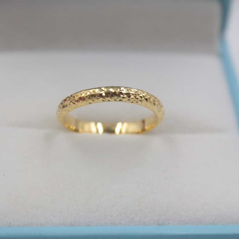 Puro Solido 18k Oro Giallo Anello di Donne Fortuna Pieno Star Band Ring 2.5mmW 0.7-1g US5-9
