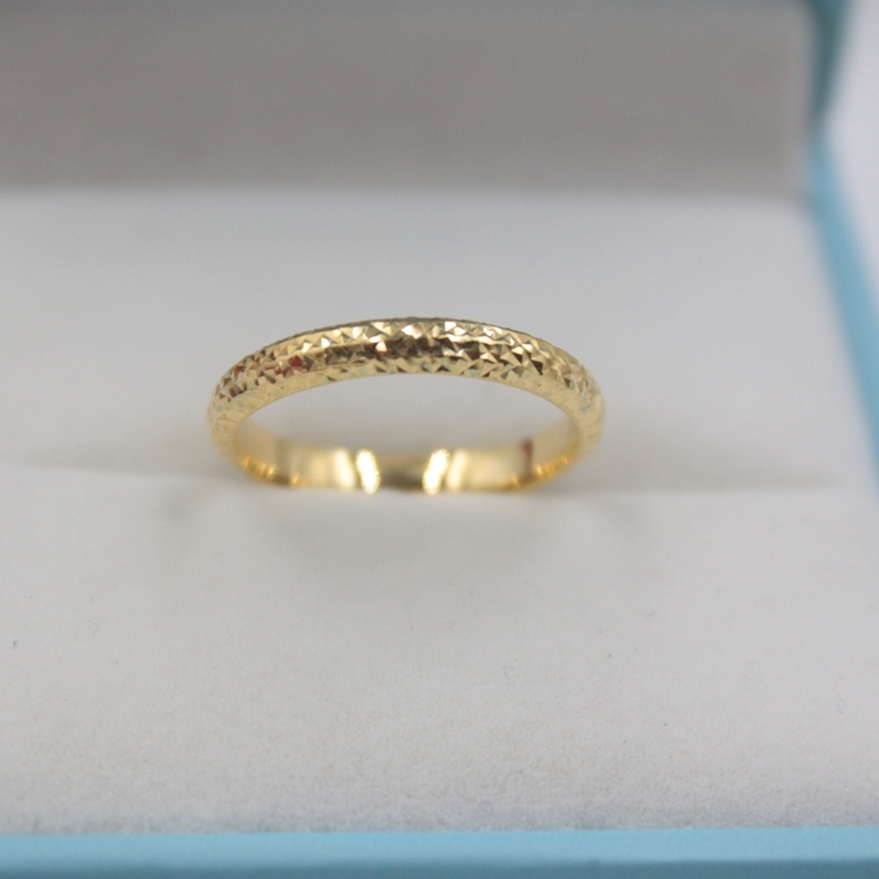Pure Solid 18k Yellow Gold Ring Women Luck Full Star Band Ring 2.5mmW 0.7-1g US5-9