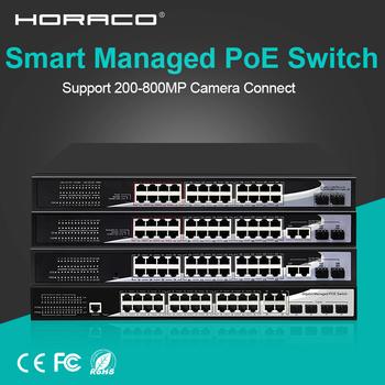 24 Port 10 100 1000M udało się przełącznik Poe L2 + przełącznik sieciowy z Gigabit SFP Port dla kamera IP CCTV bezprzewodowy punkt dostępowy telefon VOIP tanie i dobre opinie HORACO Rohs CN (pochodzenie) Lacp Snmp Vlan wsparcie 10 100 1000 mbps Przełącznik gigabit Full-duplex half-duplex Support