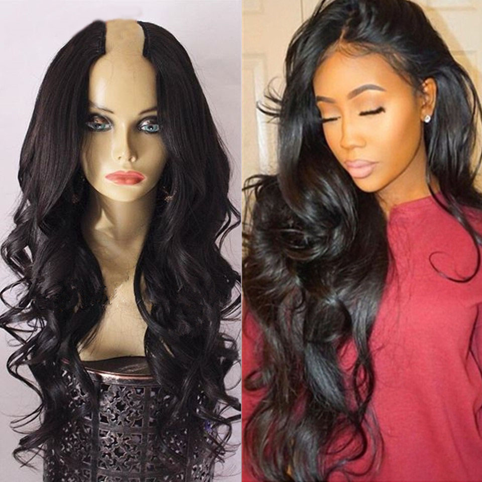 Simbeauty Glueless Body Wave U Part Wigs 100% Human Hair100% Unprocessed Brazilian Remy Hair 250 Density Middle U Part Wig