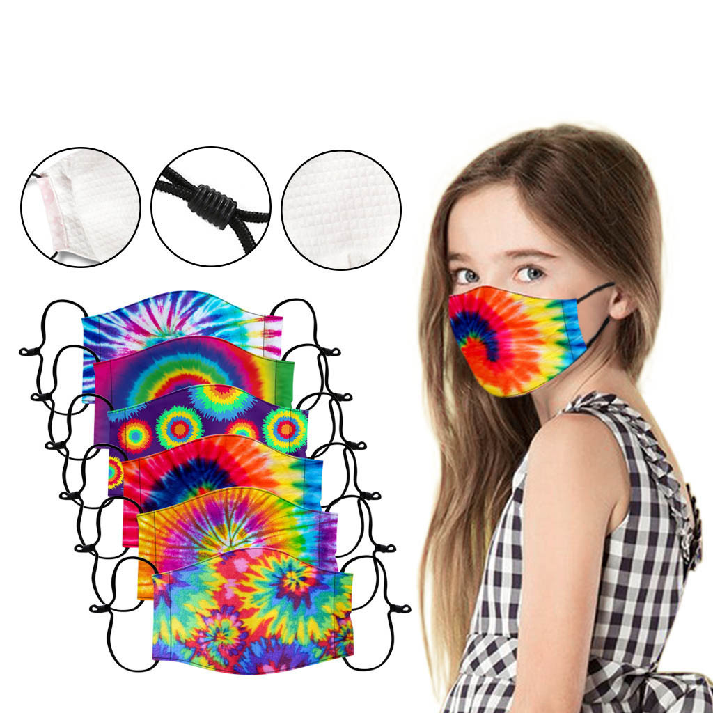 1PC Fashion Kids Tie Dye Mask Baby Washable Reusable Face Cover Masks Suitable For School Use mondka
